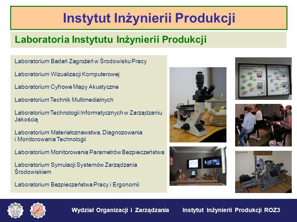 Wydział Organizacji i Zarządzania Instytut Inżynierii Produkcji ROZ3 Wybrane obszary działalności Instytutu: 1.