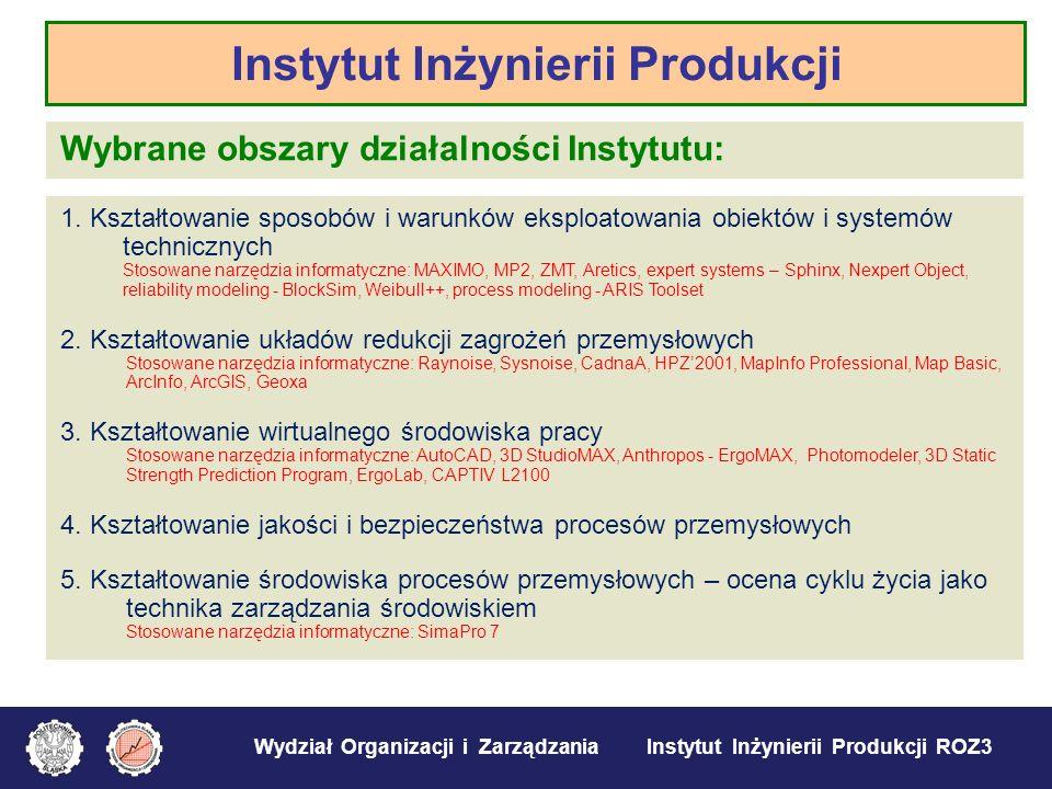 Wydział Organizacji i Zarządzania Instytut Inżynierii Produkcji ROZ3 Wybrane obszary działalności Instytutu: 1. Kształtowanie sposobów i warunków eksp