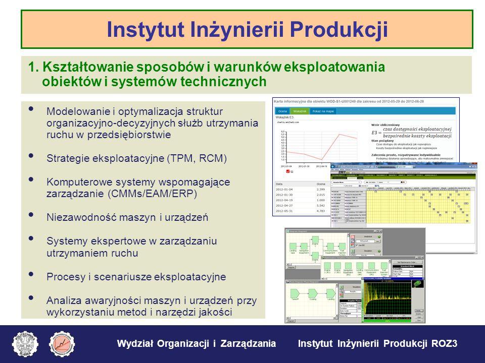 Wydział Organizacji i Zarządzania Instytut Inżynierii Produkcji ROZ3 1. Kształtowanie sposobów i warunków eksploatowania obiektów i systemów techniczn