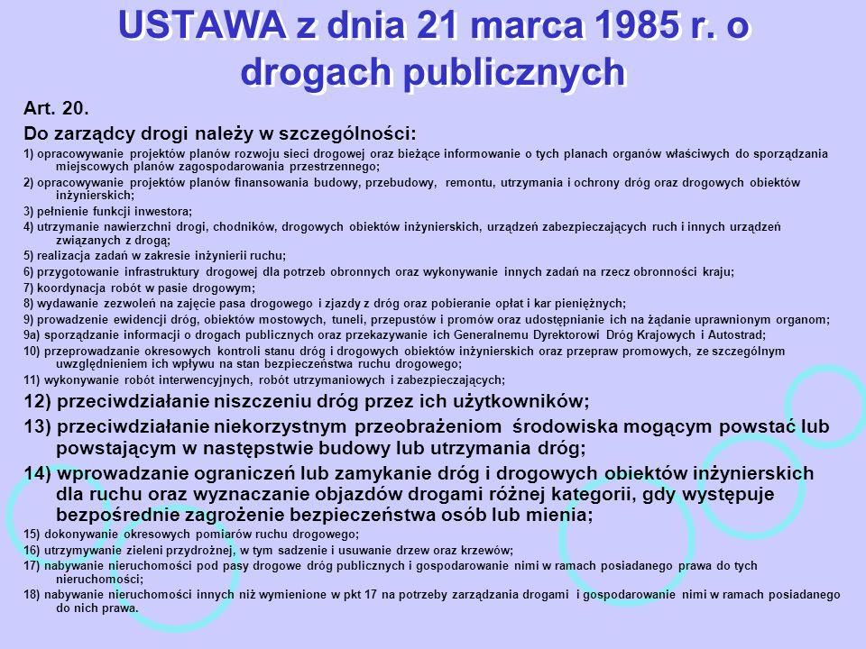 USTAWA z dnia 21 marca 1985 r. o drogach publicznych Art. 20. Do zarządcy drogi należy w szczególności: 1) opracowywanie projektów planów rozwoju siec