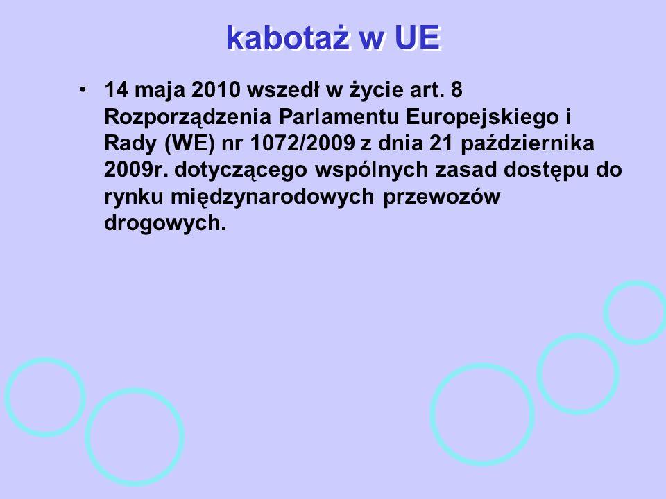 kabotaż w UE 14 maja 2010 wszedł w życie art. 8 Rozporządzenia Parlamentu Europejskiego i Rady (WE) nr 1072/2009 z dnia 21 października 2009r. dotyczą