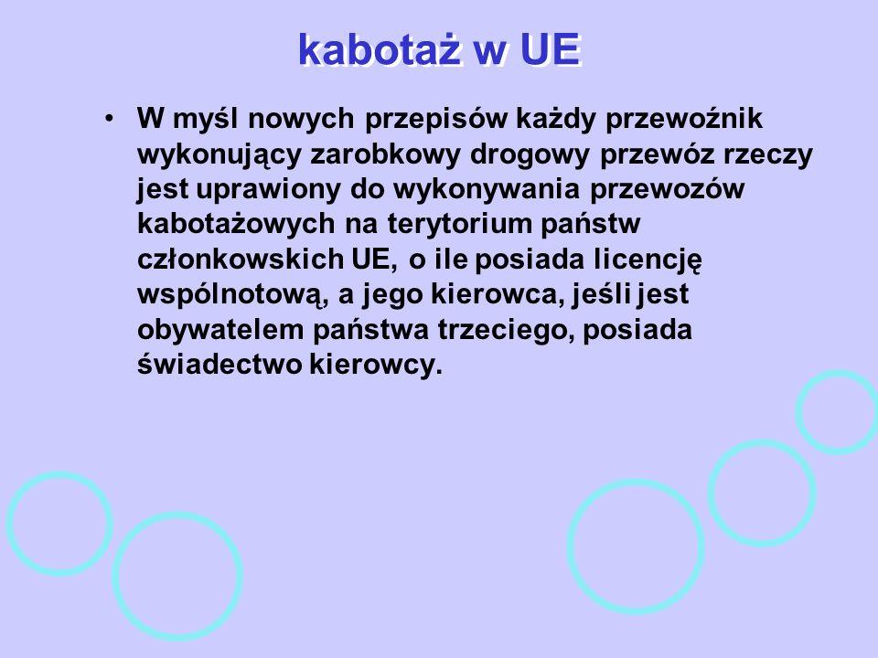 kabotaż w UE W myśl nowych przepisów każdy przewoźnik wykonujący zarobkowy drogowy przewóz rzeczy jest uprawiony do wykonywania przewozów kabotażowych