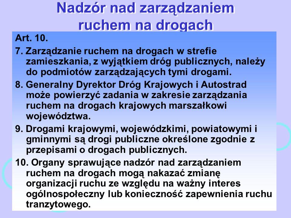 Nadzór nad zarządzaniem ruchem na drogach Art. 10. 7. Zarządzanie ruchem na drogach w strefie zamieszkania, z wyjątkiem dróg publicznych, należy do po