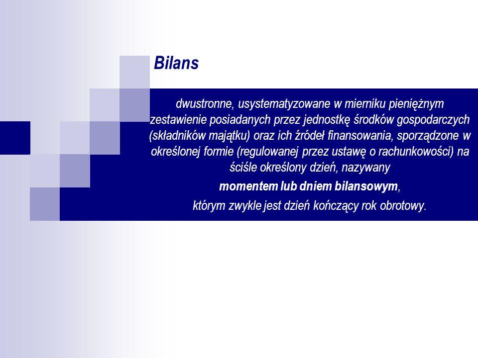 Bilans dwustronne, usystematyzowane w mierniku pieniężnym zestawienie posiadanych przez jednostkę środków gospodarczych (składników majątku) oraz ich
