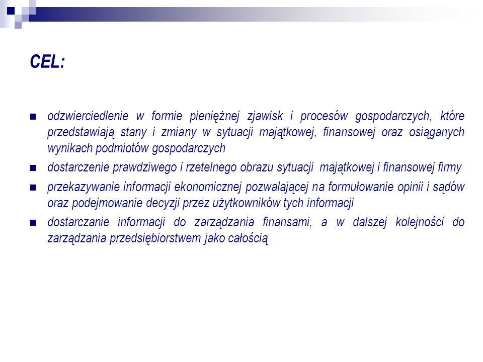 CEL: odzwierciedlenie w formie pieniężnej zjawisk i procesów gospodarczych, które przedstawiają stany i zmiany w sytuacji majątkowej, finansowej oraz