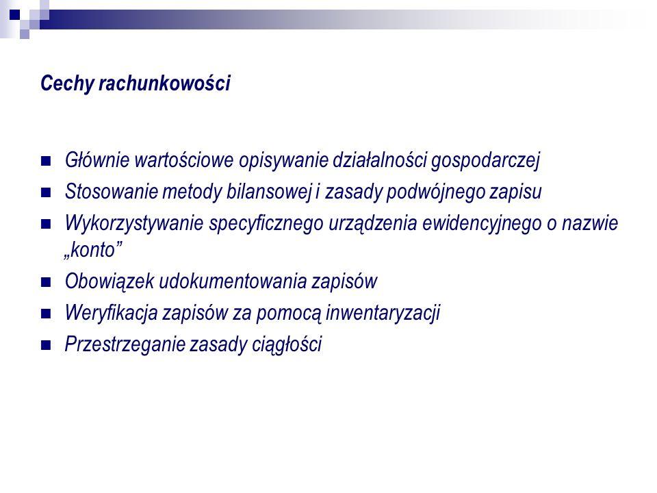 Podział rachunkowości Ze względu na rodzaj czynności: ewidencję kalkulację sprawozdawczość Ze względu na cel: finansowa zarządcza