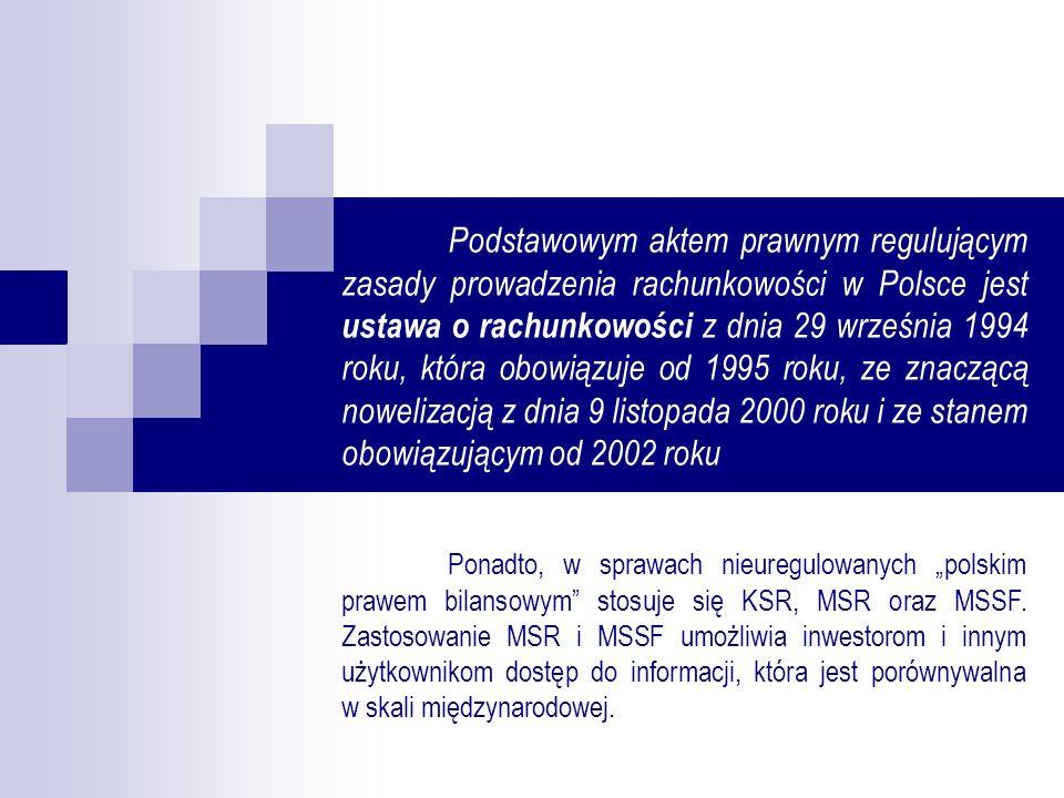 Podmioty objęte ustawą o rachunkowości to w szczególności: spółki handlowe osoby fizyczne oraz spółki cywilne osób fizycznych, jeżeli ich przychody netto ze sprzedaży towarów, produktów i operacji finansowych za poprzedni rok obrotowy wyniosły co najmniej równowartość w walucie polskiej 800 000 EURO jednostki organizacyjne działające na podstawie Prawa bankowego, Prawa o publicznym obrocie papierami wartościowymi i funduszach powierniczych, przepisów o funduszach inwestycyjnych, przepisów o działalności ubezpieczeniowej lub przepisów o organizacji i funkcjonowaniu funduszy emerytalnych, bez względu na wielkość przychodów państwowe i samorządowe jednostki budżetowe, ich gospodarstwa pomocnicze, zakłady budżetowe, fundusze celowe oraz jednostki samorządu terytorialnego i ich związki zagraniczne osoby prawne i jednostki nie posiadające osobowości prawnej