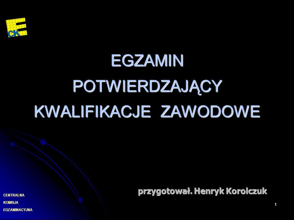 EGZAMINACYJNA CENTRALNA KOMISJA 1 EGZAMIN POTWIERDZAJĄCY KWALIFIKACJE ZAWODOWE przygotował. Henryk Korolczuk