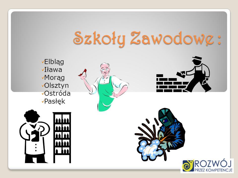 Szkoły Zawodowe : Elbląg Iława Morąg Olsztyn Ostróda Pasłęk