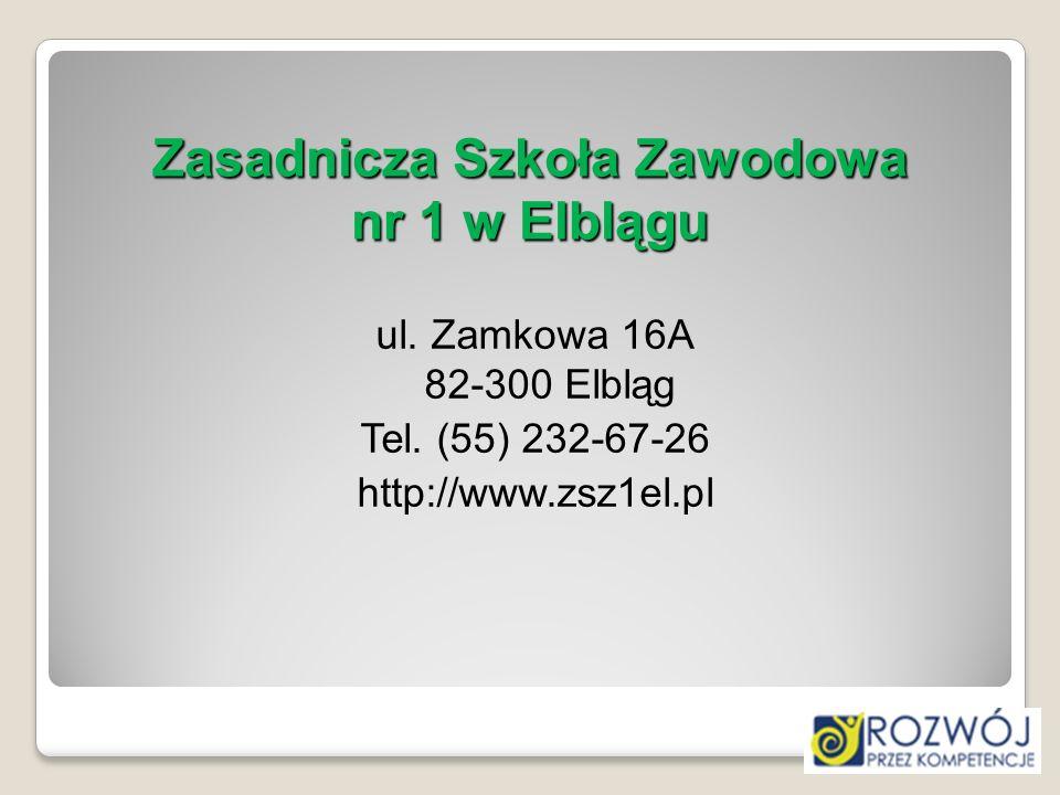 Zasadnicza Szkoła Zawodowa nr 1 w Elblągu ul. Zamkowa 16A 82-300 Elbląg Tel. (55) 232-67-26 http://www.zsz1el.pl