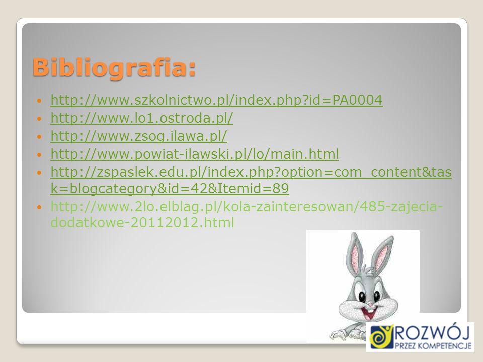 Bibliografia: http://www.szkolnictwo.pl/index.php?id=PA0004 http://www.lo1.ostroda.pl/ http://www.zsog.ilawa.pl/ http://www.powiat-ilawski.pl/lo/main.
