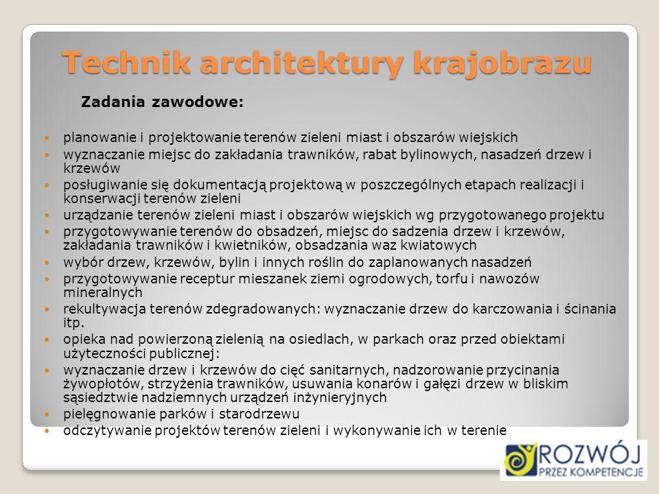 Technik architektury krajobrazu Zadania zawodowe: planowanie i projektowanie terenów zieleni miast i obszarów wiejskich wyznaczanie miejsc do zakładan