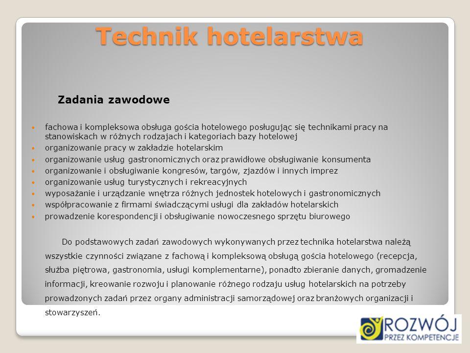 Technik hotelarstwa Zadania zawodowe fachowa i kompleksowa obsługa gościa hotelowego posługując się technikami pracy na stanowiskach w różnych rodzaja