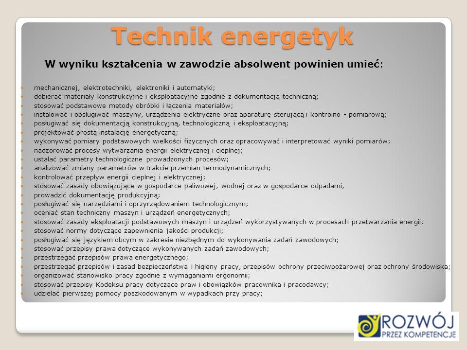 Technik energetyk W wyniku kształcenia w zawodzie absolwent powinien umieć: mechanicznej, elektrotechniki, elektroniki i automatyki; dobierać materiał