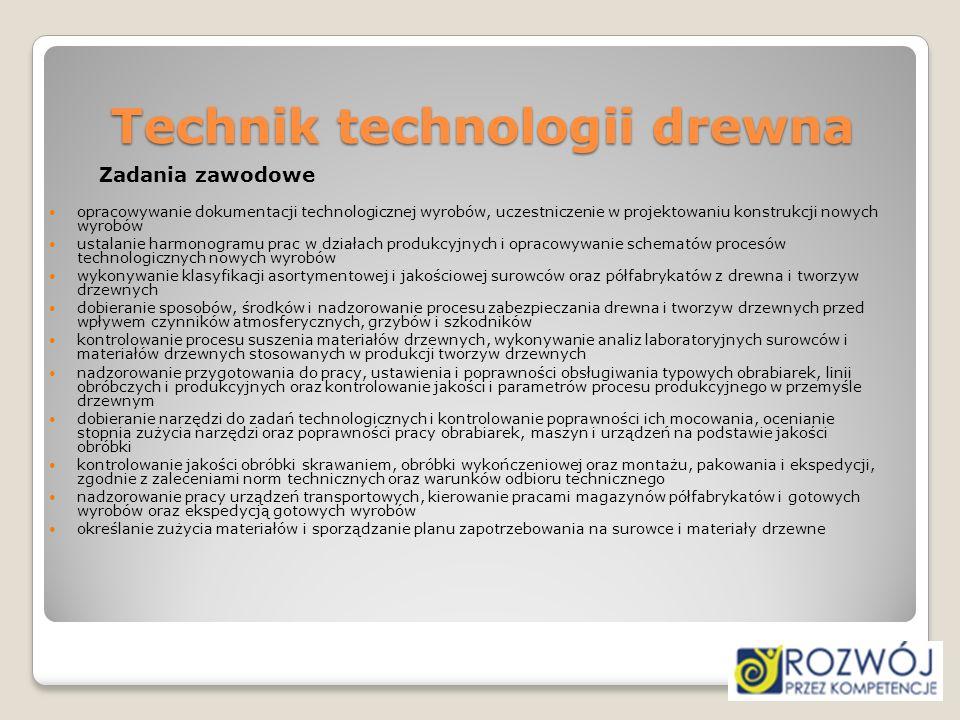 Technik technologii drewna Zadania zawodowe opracowywanie dokumentacji technologicznej wyrobów, uczestniczenie w projektowaniu konstrukcji nowych wyro