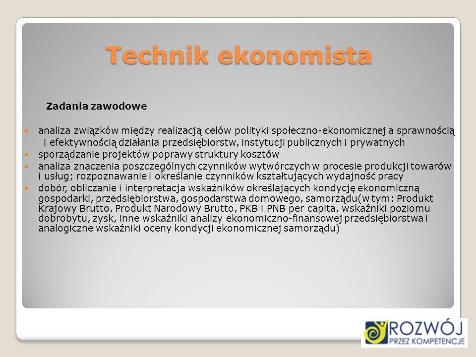 Technik ekonomista Zadania zawodowe analiza związków między realizacją celów polityki społeczno-ekonomicznej a sprawnością i efektywnością działania p