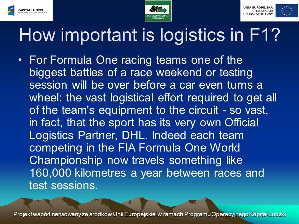 Wielkie wyzwania Dla pozaeuropejskich torów wyścigowych wysiłek logistyczny jest znacznie bardziej skomplikowana (wszystkie zespoły Formuły mają stałe miejsce zakwaterowania w europie) jako urządzenie do lotu na samoloty transportowe.