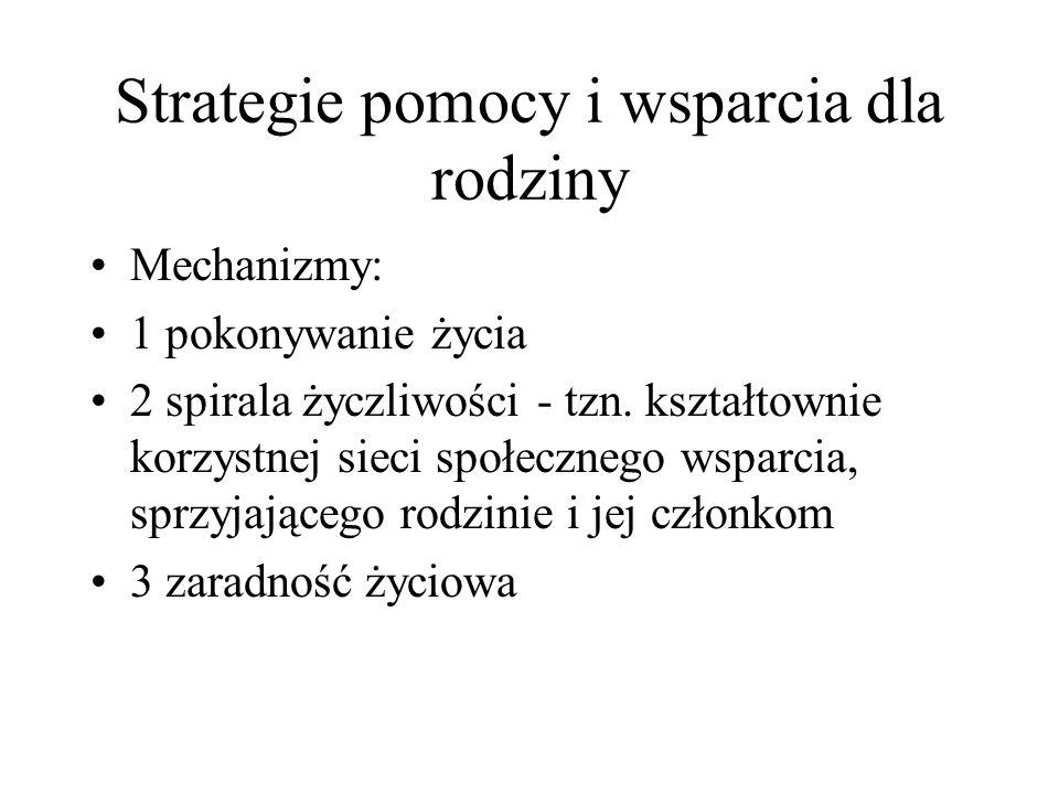 Strategie pomocy i wsparcia dla rodziny Mechanizmy: 1 pokonywanie życia 2 spirala życzliwości - tzn. kształtownie korzystnej sieci społecznego wsparci