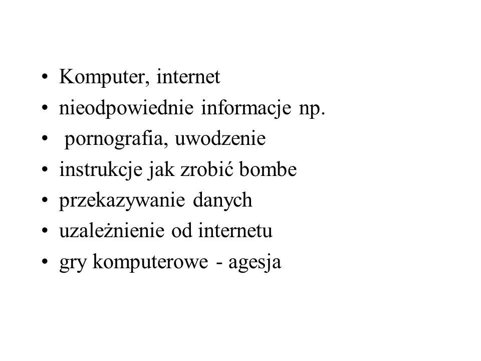 Komputer, internet nieodpowiednie informacje np. pornografia, uwodzenie instrukcje jak zrobić bombe przekazywanie danych uzależnienie od internetu gry