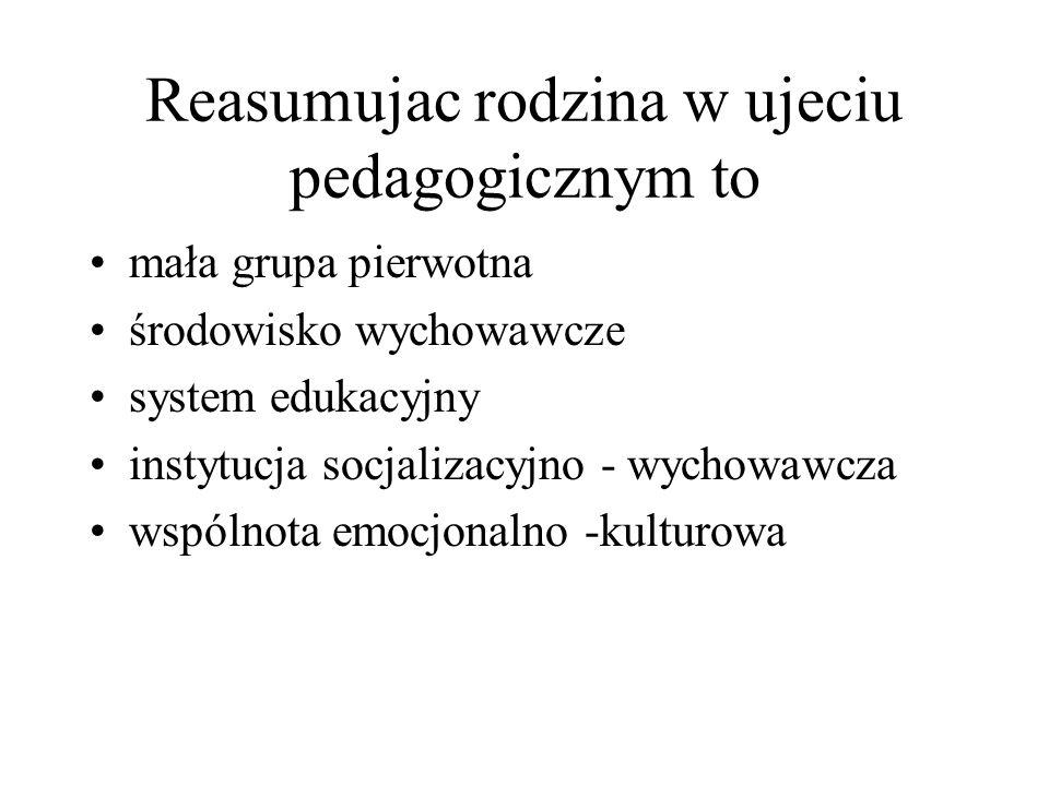 Reasumujac rodzina w ujeciu pedagogicznym to mała grupa pierwotna środowisko wychowawcze system edukacyjny instytucja socjalizacyjno - wychowawcza wsp