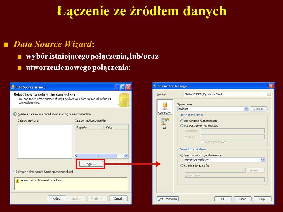 Łączenie ze źródłem danych Data Source Wizard: wybór istniejącego połączenia, lub/oraz utworzenie nowego połączenia: