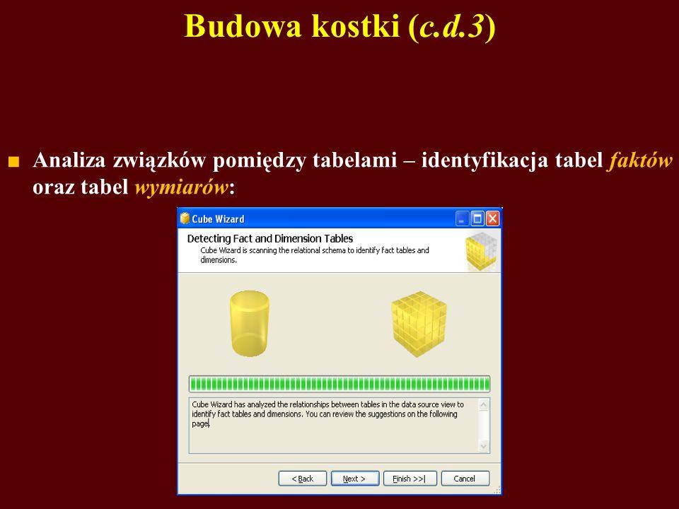 Budowa kostki (c.d.3) Analiza związków pomiędzy tabelami – identyfikacja tabel faktów oraz tabel wymiarów: