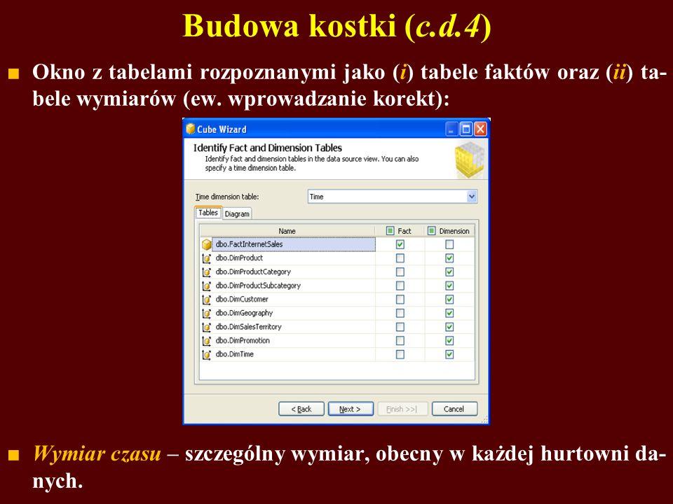 Budowa kostki (c.d.4) Okno z tabelami rozpoznanymi jako (i) tabele faktów oraz (ii) ta- bele wymiarów (ew.