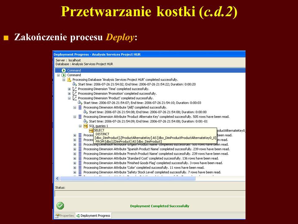Przetwarzanie kostki (c.d.2) Zakończenie procesu Deploy: