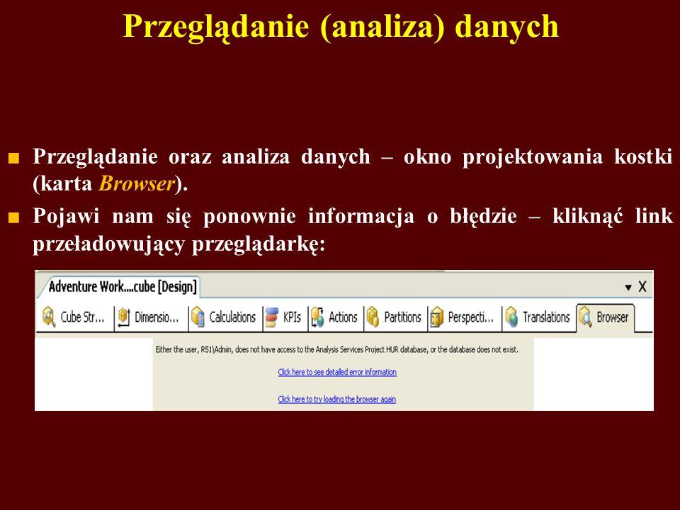 Przeglądanie (analiza) danych Przeglądanie oraz analiza danych – okno projektowania kostki (karta Browser).