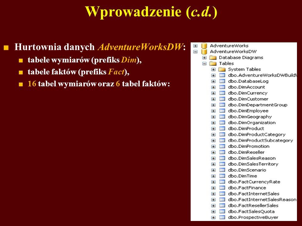 Wprowadzenie (c.d.) Hurtownia danych AdventureWorksDW: tabele wymiarów (prefiks Dim), tabele faktów (prefiks Fact), 16 tabel wymiarów oraz 6 tabel faktów: