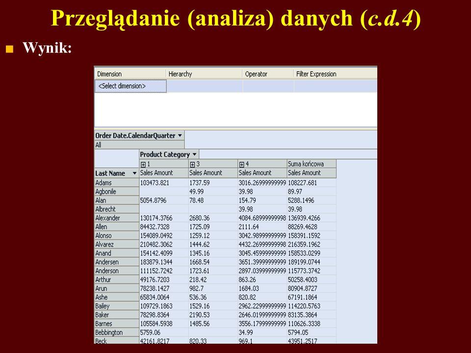 Przeglądanie (analiza) danych (c.d.4) Wynik: