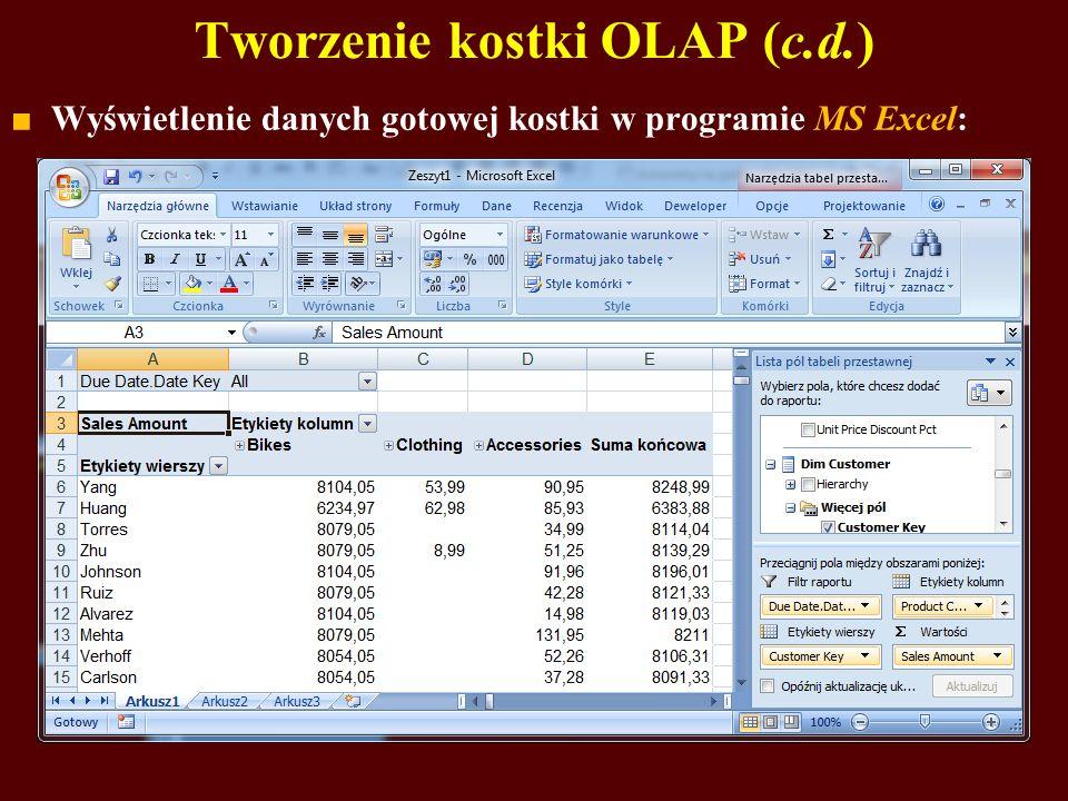 Tworzenie kostki OLAP (c.d.) Wyświetlenie danych gotowej kostki w programie MS Excel: