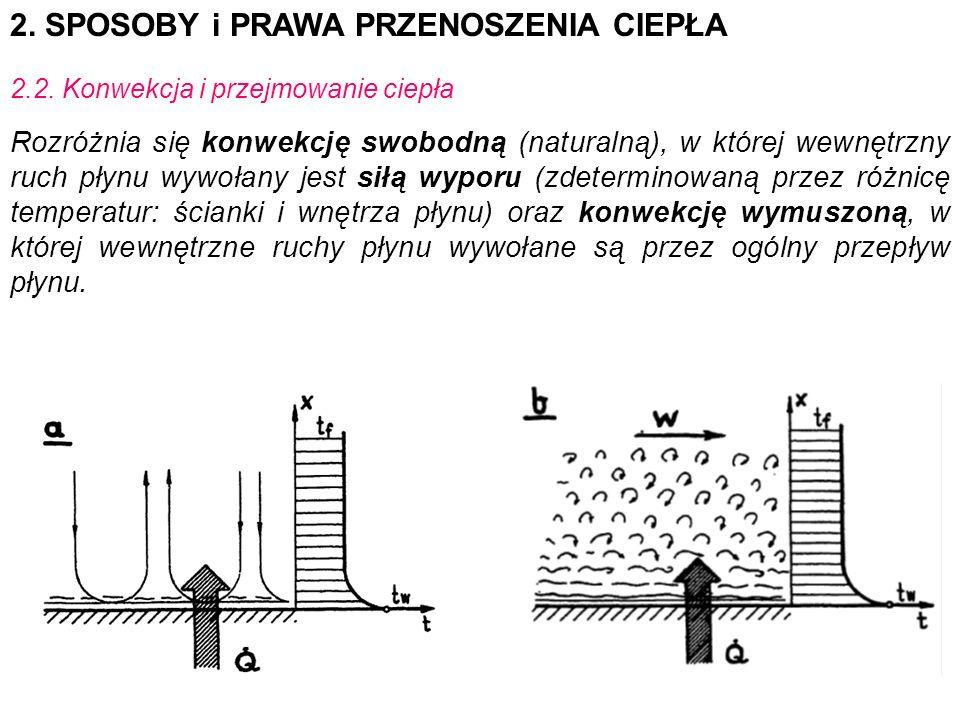 2. SPOSOBY i PRAWA PRZENOSZENIA CIEPŁA 2.2. Konwekcja i przejmowanie ciepła Rozróżnia się konwekcję swobodną (naturalną), w której wewnętrzny ruch pły
