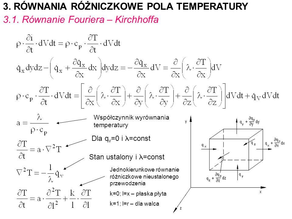 3. RÓWNANIA RÓŻNICZKOWE POLA TEMPERATURY 3.1. Równanie Fouriera – Kirchhoffa Współczynnik wyrównania temperatury Dla q v =0 i =const Stan ustalony i =