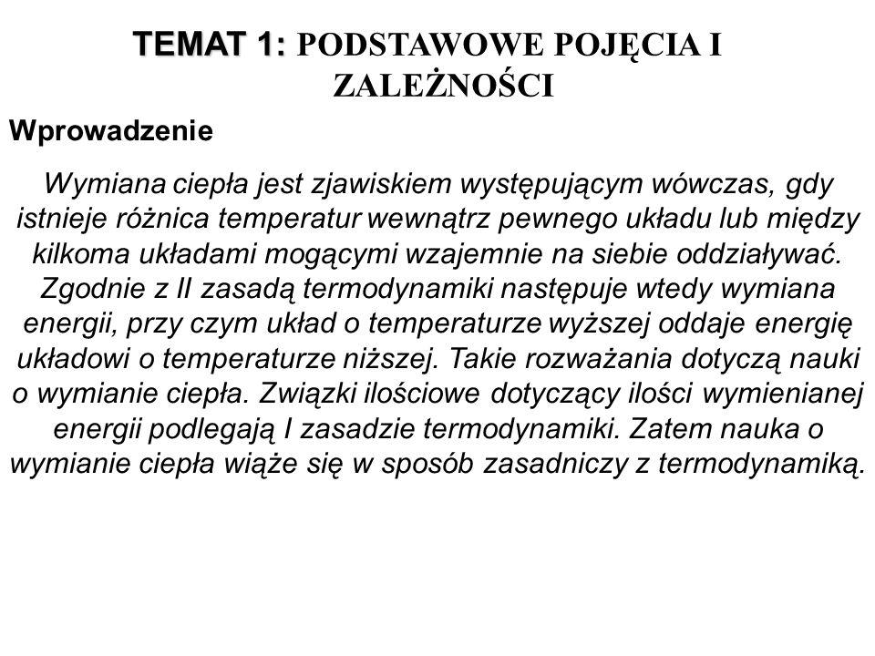 TEMAT 1: TEMAT 1: PODSTAWOWE POJĘCIA I ZALEŻNOŚCI Wprowadzenie Wymiana ciepła jest zjawiskiem występującym wówczas, gdy istnieje różnica temperatur we