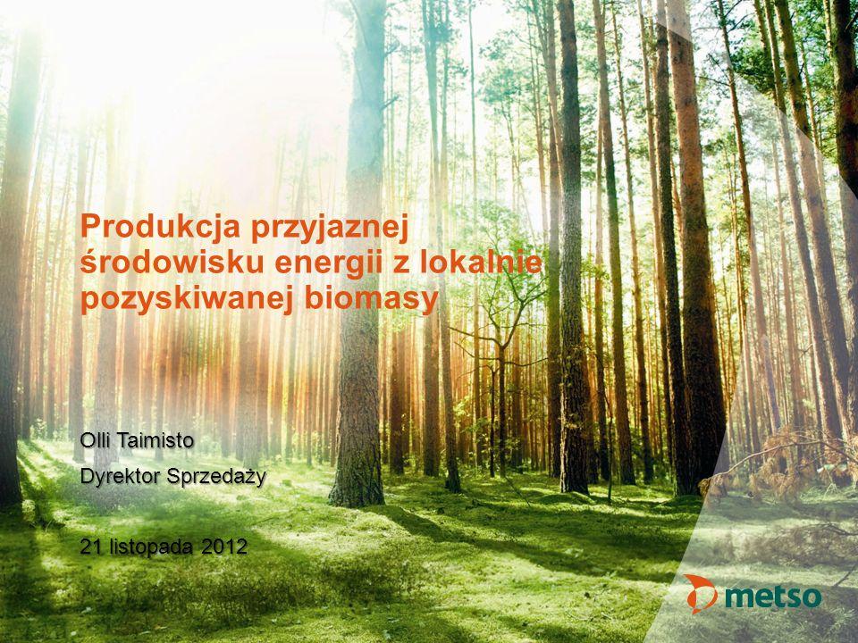 Produkcja przyjaznej środowisku energii z lokalnie pozyskiwanej biomasy Olli Taimisto Dyrektor Sprzedaży 21 listopada 2012