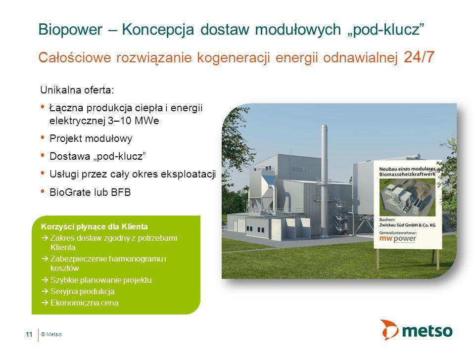 © Metso Biopower – Koncepcja dostaw modułowych pod-klucz Całościowe rozwiązanie kogeneracji energii odnawialnej 24/7 Unikalna oferta: Łączna produkcja ciepła i energii elektrycznej 3–10 MWe Projekt modułowy Dostawa pod-klucz Usługi przez cały okres eksploatacji BioGrate lub BFB 11 Korzyści płynące dla Klienta Zakres dostaw zgodny z potrzebami Klienta Zabezpieczenie harmonogramu i kosztów Szybkie planowanie projektu Seryjna produkcja Ekonomiczna cena