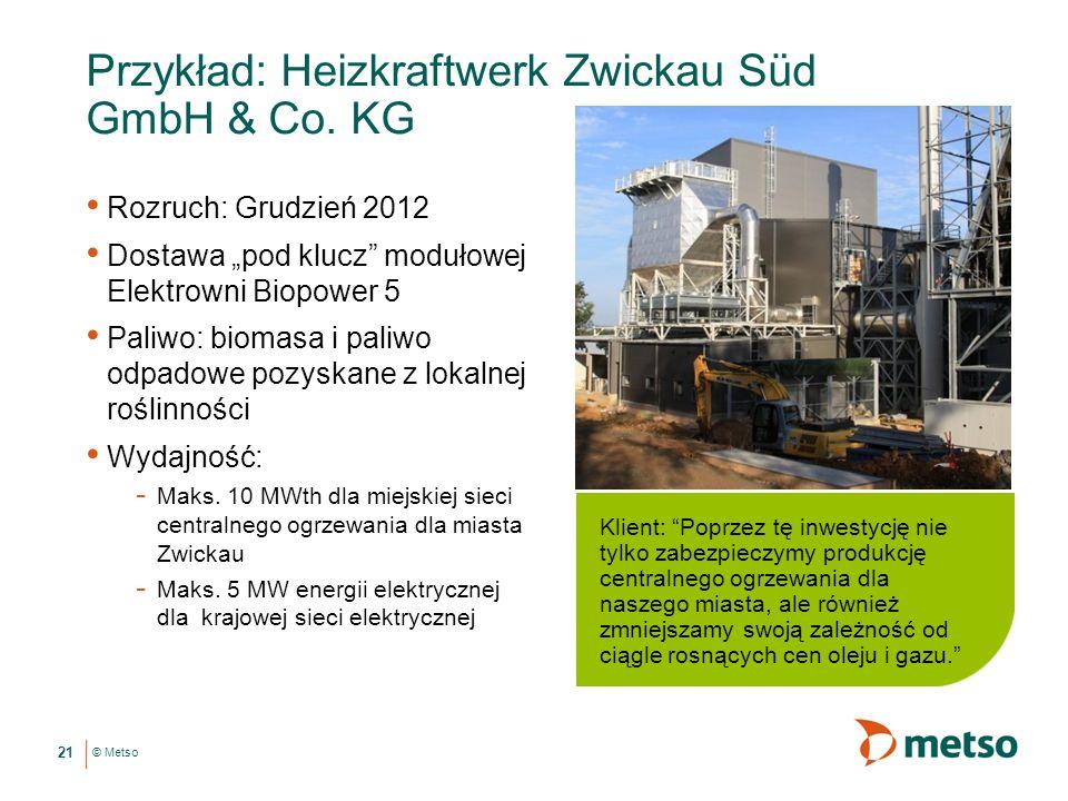 © Metso Przykład: Heizkraftwerk Zwickau Süd GmbH & Co.