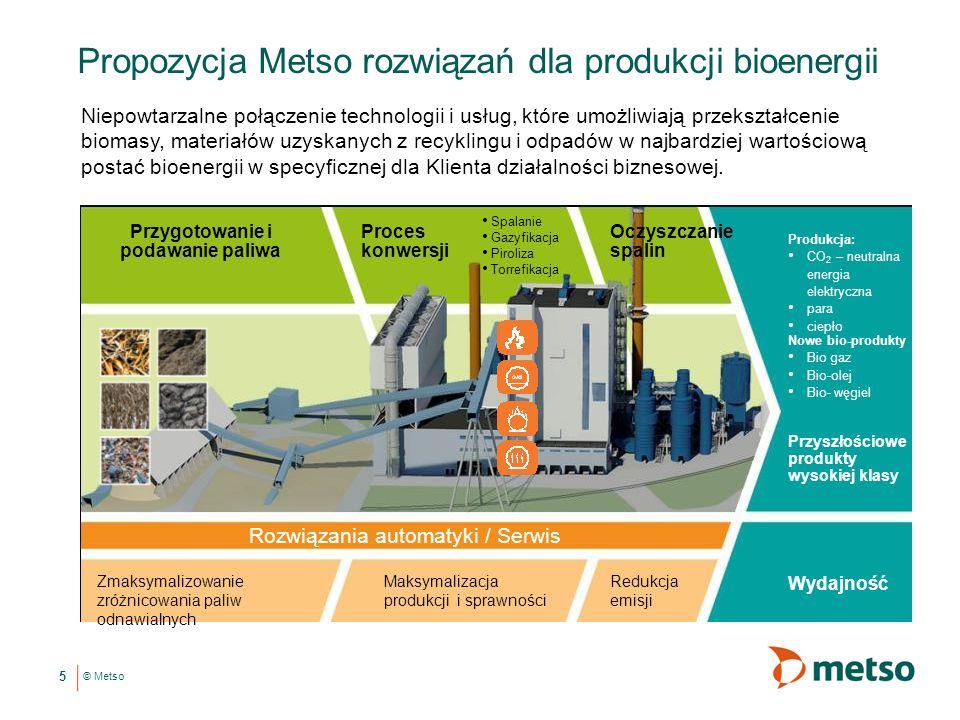 © Metso Propozycja Metso rozwiązań dla produkcji bioenergii 5 Niepowtarzalne połączenie technologii i usług, które umożliwiają przekształcenie biomasy, materiałów uzyskanych z recyklingu i odpadów w najbardziej wartościową postać bioenergii w specyficznej dla Klienta działalności biznesowej.
