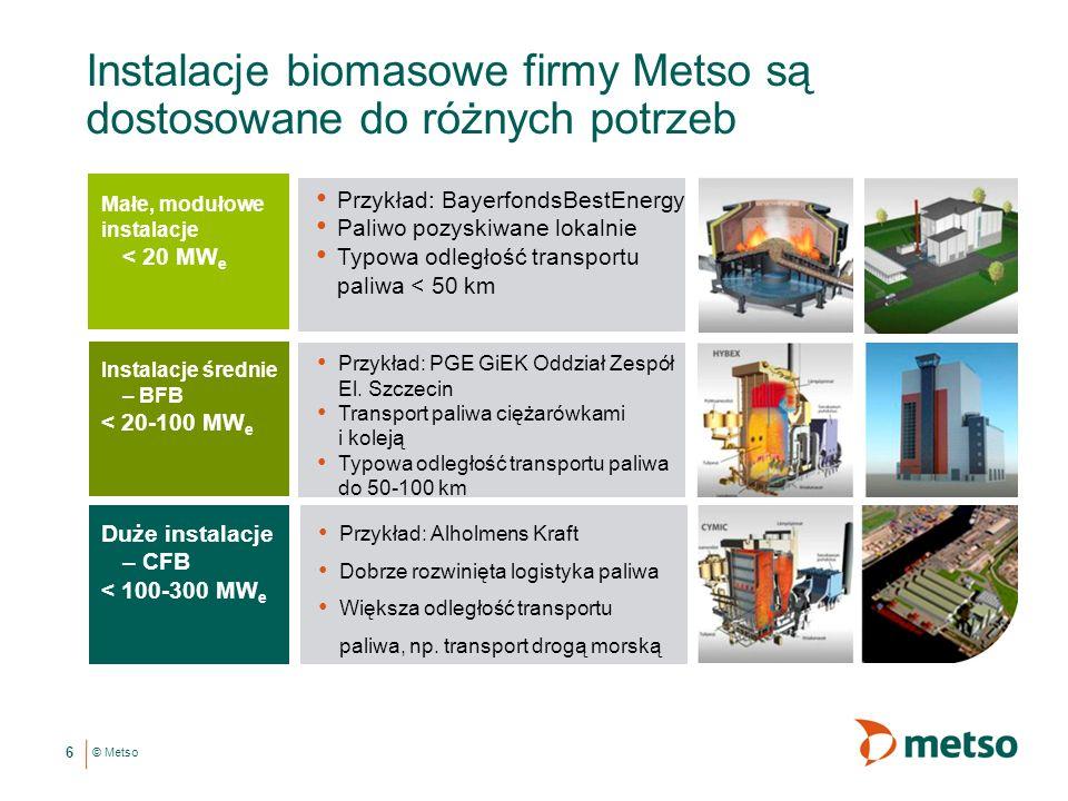 © Metso Instalacje biomasowe firmy Metso są dostosowane do różnych potrzeb Przykład: Alholmens Kraft Dobrze rozwinięta logistyka paliwa Większa odległość transportu paliwa, np.
