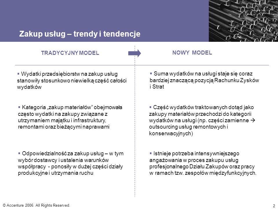 © Accenture 2006. All Rights Reserved. 2 Zakup usług – trendy i tendencje TRADYCYJNY MODEL NOWY MODEL Suma wydatków na usługi staje się coraz bardziej