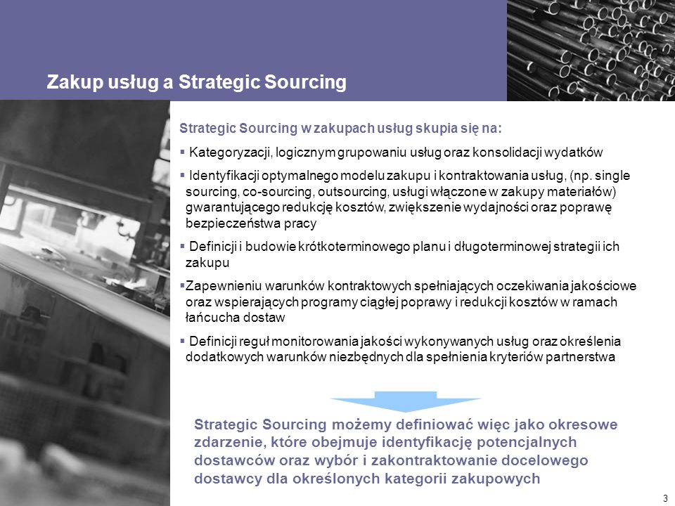 © Accenture 2006. All Rights Reserved. 3 Zakup usług a Strategic Sourcing Strategic Sourcing możemy definiować więc jako okresowe zdarzenie, które obe