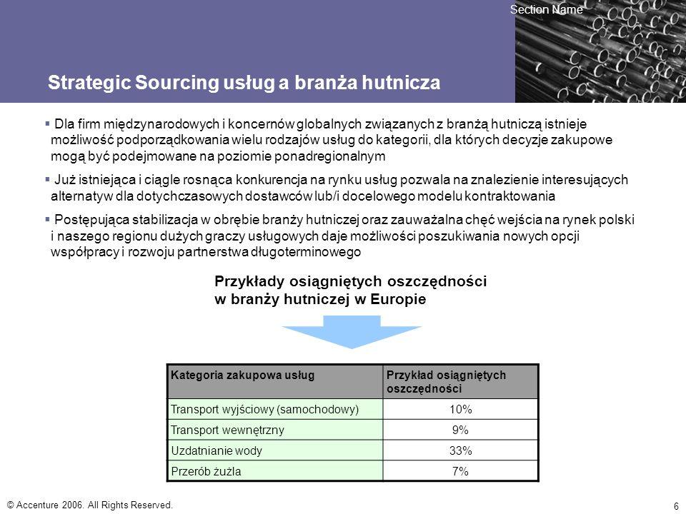 © Accenture 2006. All Rights Reserved. 6 Strategic Sourcing usług a branża hutnicza Dla firm międzynarodowych i koncernów globalnych związanych z bran