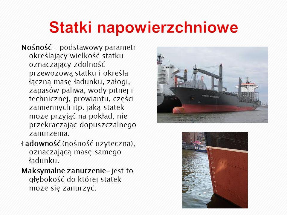 Nośność - podstawowy parametr określający wielkość statku oznaczający zdolność przewozową statku i określa łączną masę ładunku, załogi, zapasów paliwa