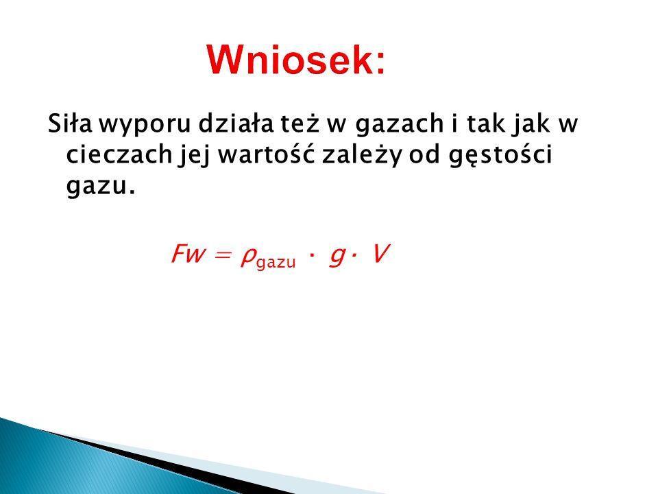 Siła wyporu działa też w gazach i tak jak w cieczach jej wartość zależy od gęstości gazu. Fw = ρ gazu · g· V