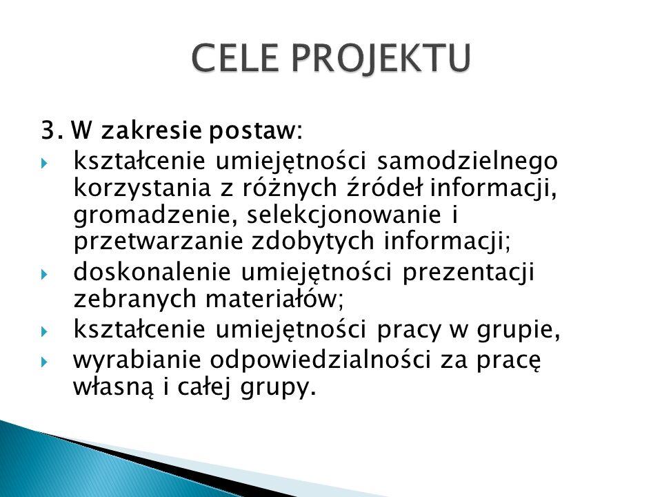 3. W zakresie postaw: kształcenie umiejętności samodzielnego korzystania z różnych źródeł informacji, gromadzenie, selekcjonowanie i przetwarzanie zdo