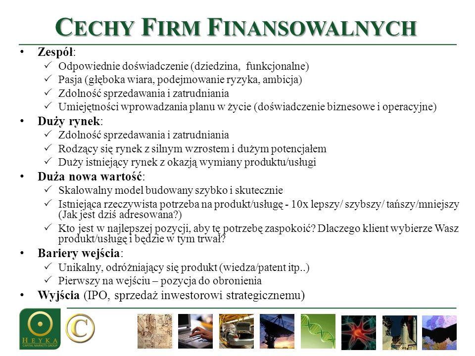 C ECHY F IRM F INANSOWALNYCH Zespół: Odpowiednie doświadczenie (dziedzina, funkcjonalne) Pasja (głęboka wiara, podejmowanie ryzyka, ambicja) Zdolność