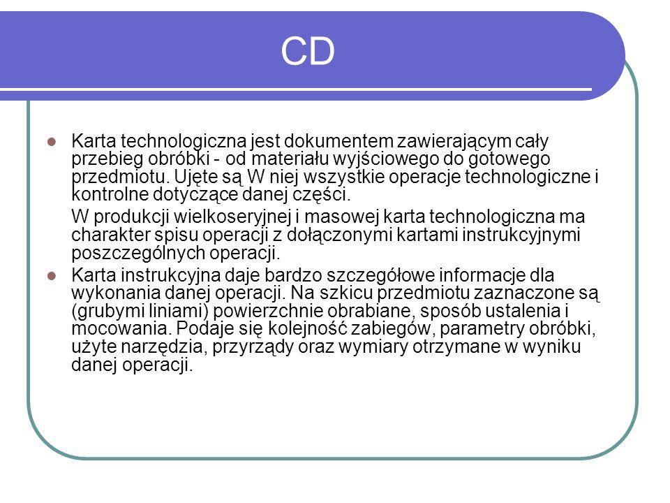 CD Karta technologiczna jest dokumentem zawierającym cały przebieg obróbki - od materiału wyjściowego do gotowego przedmiotu. Ujęte są W niej wszystki