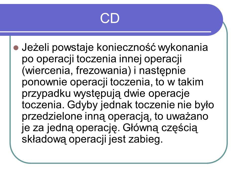 CD Jeżeli powstaje konieczność wykonania po operacji toczenia innej operacji (wiercenia, frezowania) i następnie ponownie operacji toczenia, to w taki