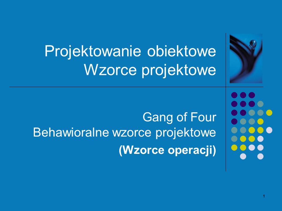 1 Projektowanie obiektowe Wzorce projektowe Gang of Four Behawioralne wzorce projektowe (Wzorce operacji)